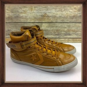 """Converse Brown Leather """"Cons"""" High Top Shoes GUC"""